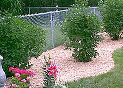 White chainlink fence around garden